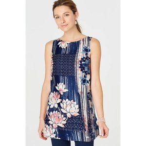 PURE JILL Linen Everyday Blue Lotus Sleeve Tunic